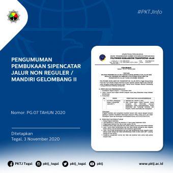Pengumuman Pembukaan SIPENCATAR Jalur Non Reguler / Mandiri Gelombang II