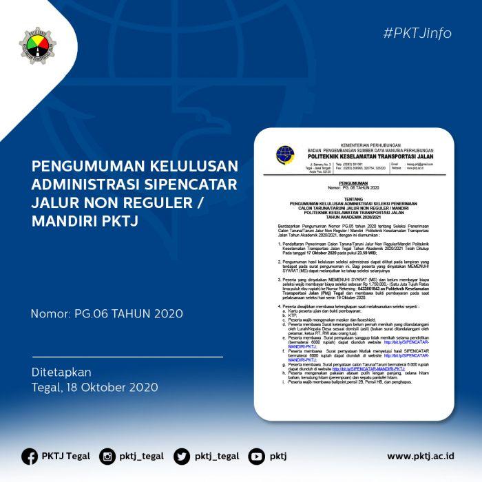 Pengumuman Kelulusan Administrasi SIPENCATAR Jalur Non Reguler / Mandiri PKTJ