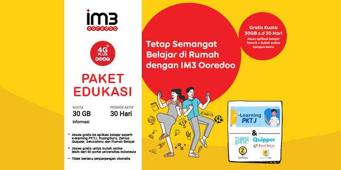 Elearning PKTJ Bebas Akses dengan Paket Edukasi MyIM3