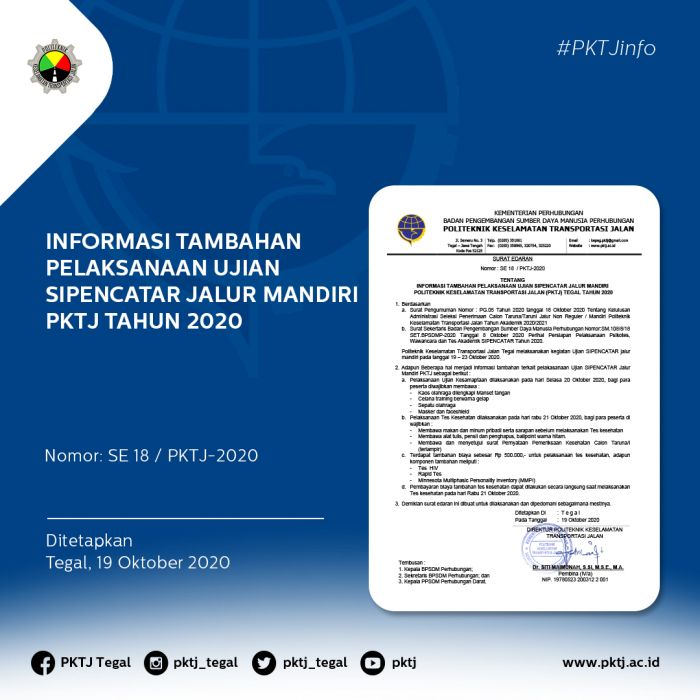 Informasi Tambahan Pelaksanaan Ujian SIPENCATAR Jalur Mandiri PKTJ Tahun 2020